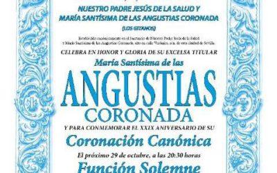 Función Solemne en Honor a María Santísima de las Angustias. 29 de octubre a la 20.30 horas