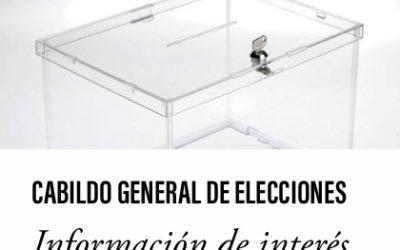 Cabildo General de Elecciones. Información de interés.