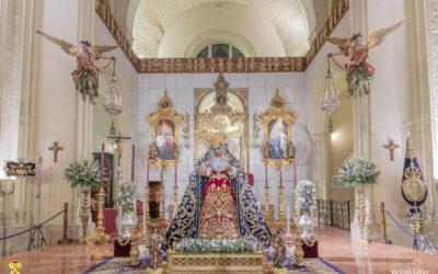 La Virgen de las Angustias amanece en el presbiterio para la festividad del 8 de septiembre
