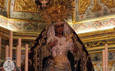 María Santísima de las Angustias preparada para la celebración de su Solemne Triduo Anual
